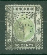 Hong Kong: 1904/06   Edward    SG84a     30c      Used Perfin - Hong Kong (...-1997)
