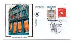ANDORRE FDC 2010 AMBASSADE DE BRUXELLES - FDC