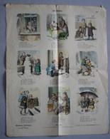 Grande Page Illustrée Gravure Münchener Bilderbogen Im Winter En Hiver Braun & Schneider N°799 Neige Enfants Parapluie - Prints & Engravings