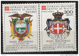 PIA - SMOM - 1985 : Convenzione Postale Con La Repubblica  Dell' Ecuador   - (SAS  A17-A18) - Sovrano Militare Ordine Di Malta