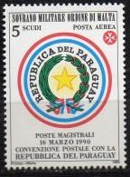 PIA - SMOM - 1990 : Convenzione Postale Con Il Paraguay - (UN  P.A.  A42) - Sovrano Militare Ordine Di Malta
