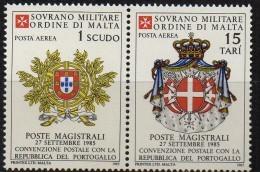 PIA - SMOM - 1985 : Convenzione Postale Con La Repubblica Del Portogallo   - (SAS  A19-A20) - Sovrano Militare Ordine Di Malta