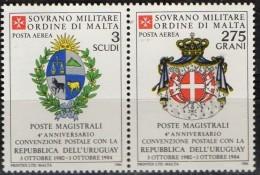 PIA - SMOM - 1984 : Convenzione Postale Con La Repubblica  Dell' Uruguay   - (SAS  A9-A10) - Sovrano Militare Ordine Di Malta