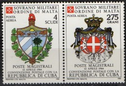 PIA - SMOM - 1984 : Convenzione Postale Con La Repubblica  Di Cuba   - (SAS  A11-A12) - Sovrano Militare Ordine Di Malta