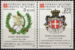 PIA - SMOM - 1984 : Convenzione Postale Con La Repubblica  Del Guatemala   - (SAS  A13-A14) - Sovrano Militare Ordine Di Malta