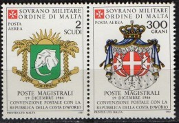 PIA - SMOM - 1985 : Convenzione Postale Con La Repubblica  Della Costa D' Avorio   - (SAS  A15-A16) - Sovrano Militare Ordine Di Malta