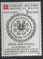 PIA - SMOM - 1988 : Convenzione Postale Con La Repubblica Delle  Comore - (SAS  P.A.  A37) - Sovrano Militare Ordine Di Malta