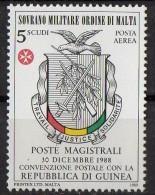 PIA - SMOM - 1989 : Convenzione Postale Con La Repubblica Di Guinea - (SAS  P.A.  A40) - Malte (Ordre De)