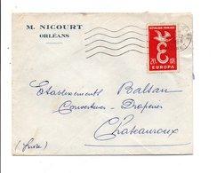 N° 1173 SEUL SUR LETTRE DE ORLEANS GARE 1958 - Marcophilie (Lettres)
