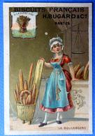 CHROMO DORÉE...NANTES ...BISCUITS FRANÇAIS.......LA BOULANGÈRE...BAGUETTE....A LA GERBE D'OR - Confiserie & Biscuits