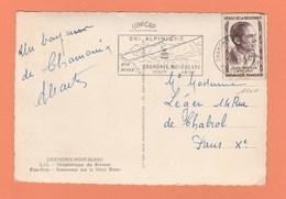 N° 1100 8F JEAN MOULIN  SEUL SUR CARTE POSTALE DE CHAMONIX - Marcophilie (Lettres)