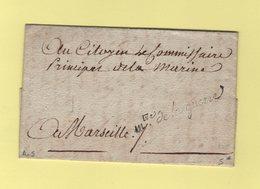 Franchise - Ministrer De La Guerre - Courrier De L An 5 Signe Perney Pour Le Commissaire De La Marine A Marseille - Marcofilie (Brieven)