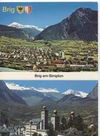 Brig Am Simplon - Panorama  - Stockalpers Schloss - 2 Photo's On Card - VS Valais