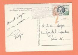 N° 1382  0.20 F BEETHOVEN SEUL SUR CARTE POSTALE DE NONTRON DORDOGNE - Marcophilie (Lettres)
