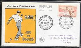 FDC 1958 1161 Jeux Traditionnels: JEU DE BOULES - FDC