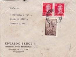 EDUARDO BENOT - COMMERCIAL ENVELOPE CIRCULEE 1956 BAHIA BLANCA A BUENOS AIRES, BANDELETA PARLANTE - BLEUP - Argentina