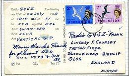 Ascension 1968 Ham Radio Postcard Cover To England - Ascension