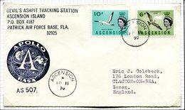 Ascension 1970 Apollo Cachet Cover To England - Ascension