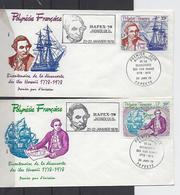 Polynésie: PA 130/131 Sur 2  FDC (James Cook Et Découverte Des Iles Hawaii) - FDC