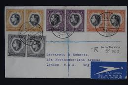 South West Africa Registered Airmail Cover Windhoek _> Kimberley -> London 4x Pair Putzel 44 2x Airplane In Cancel RR - Südwestafrika (1923-1990)