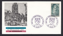 France French Cover Lettre 1974 30th Anniversary Of Normandy Normandie 50 Saint Lo Cancel - Covers & Documents