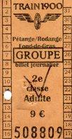 TICKET DE TRAIN LUXEMBOURG * TRAIN 1900 * PETANGE/ RODANGE * 2e CLASSE * ADULTE - Europa