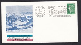 France French Cover Lettre 1974 30th Anniversary Of Normandy Normandie 50 Ste Marie Du Mont Manche Cancel - Covers & Documents