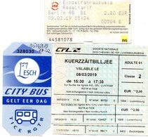 TICKET DE TRAIN & BUS  * TRAIN LUXEMBOURG * BUS LUXEMBOURG * TRAIN ALLEMAGNE * 2e CLASSE - Railway