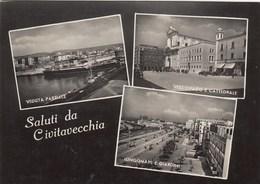 CIVITAVECCHIA-SALUTI DA..MULTIVEDUTE(3 IMMAGINI)CARTOLINA VERA FOTOGRAFIA VIAGGIATA IL 11-3-1953 - Civitavecchia