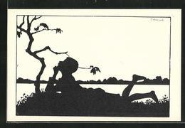 Künstler-AK Carus: Schattenbild, Knabe Beobachtet Eine Vogelmutter Mit Junges Im Baum - Carus