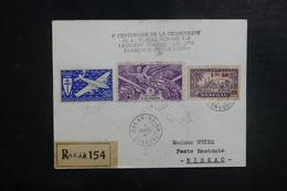A.O.F. - Enveloppe En Recommandé Par 1er Vol Dakar / Bissao En 1947, Affranchissement Plaisant - L 39506 - Lettres & Documents