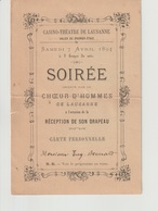 Programme Casino-Théâtre De Lausanne - Soirée Choeur D'hommes 1894 - Programmes