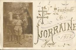 Carte Photo Soldats Français Souvenir De Lorraine 1917  / 14-18 / WW1 / POILU - 1914-18