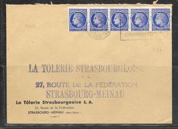 LOT 1908001 - N° 674 EN BANDE DE CINQ SUR LETTRE DE PARIS  POUR STRASBOURG - 1921-1960: Modern Period