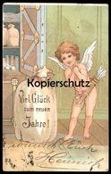 ALTE POSTKARTE ENGEL ANGEL ANGE AMOR AMOURS PFEIL UND BOGEN LIEBESPFEIL TRESOR Geld Safe Nude Cpa Ansichtskarte Postcard - Engel