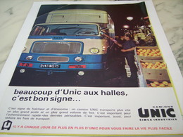 ANCIENNE PUBLICITE UN BON SIGNE LES CAMIONS  UNIC  1963 - Trucks