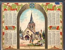 Calendrier 1932 Double Cartonnage, , Puy De Dôme, L'église De Chambon - Calendari