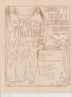 Programme Séance De Fin D'année 1910 Gymnase Et Collège Scientifique LAUSANNE - Programmes