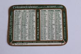 Calendrier Petit Format 1923 Cie D Assurances Generales Contre L Incendie Paris   9,5cm X 7 Cm - Calendarios