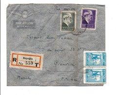 TURQUIE AFFRANCHISSEMENT COMPOSE SUR LETTRE RECOMMANDEE DE BEYOGLU POUR LA FRANCE 1946 - 1921-... Republic