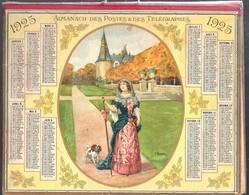 Calendrier Double Cartonnage 1925, Châtelaine En Promenade Au Château Avec Son Chien. Illustrateur J.L Beuzon - Calendriers