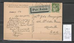 France - CP AJACCIO - Corse - 1937 - Tarif Avec Surtaxe Avion - Postal Rates