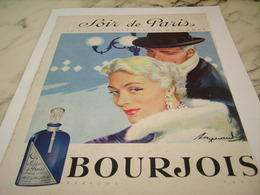ANCIENNE PUBLICITE PARFUM SOIR DE PARIS  DE  BOURJOIS 1956 - Perfume & Beauty