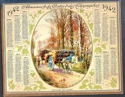 Calendrier Double Cartonnage 1942, Paysan Et Son Attelage Cheval Retour De Forêt. Intérieur Carte Aude - Grand Format : 1941-60