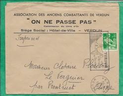 Enveloppe Association Des Anciens Combattants De Verdun Flamme 02-09-1961 2scans Le Verguier - 1961-....