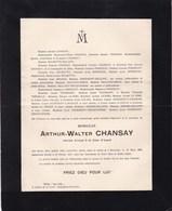 Arthur-Walter CHANSAY BRUXELLES AUDERGHEM Ancien Avocat 1868-1917 Villa Les IRIS Familles WILMOTTE PONCELET DODEMONT - Décès