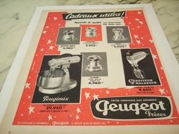 ANCIENNE  PUBLICITE CADEAUX UTILES DE PEUGEOT FRERE 1956 - Advertising