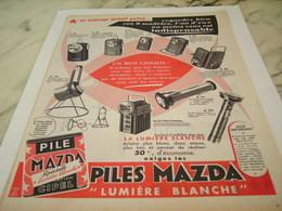 ANCIENNE PUBLICITE ECLAIRAGE PORTATIF MAZDA 1956 - Other