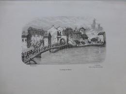 Guerre D'Italie, Le Passage Du MINCIO Par Durandeau, Gravure Originale Vers 1875 ? Ref 528  ; GR01 - Stiche & Gravuren