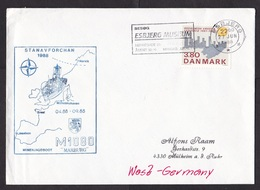 Denmark: Cover To Germany, 1988, 1 Stamp, Cancel NATO Stanavforchan, German Navy Vessel, Military (traces Of Use) - Denemarken